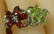GREEN PERIDOT & RED GARNET SIZE 8.25 RING -.925 SILVER 14K GOLD PLATED -  #910
