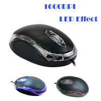 USB 2.0 Optical Wired Scroll Wheel Mouse Mice For PC Laptop Notebook Desktop LED