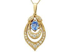 18Carat Yellow Gold Pendant - Vintage 1.10 ct Aquamarine and 0.92 ct Diamond,