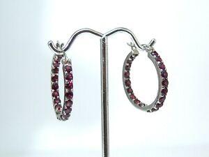 Sterling Silver Garnet Hoop Earrings 1 Inch Anti Tarnish
