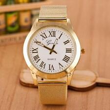 Neu Herren Römisch Numerals Gold Edelstahl Quartz Armbanduhren Uhr Watch