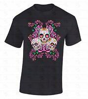 Sugar Skulls Flowers T-SHIRT Day Of Dead Hearts Stars Dia De Los Muertos Shirt