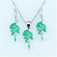 Green Emerald Drop Earrings With Necklace 925 Sterling Silver Women Fashion NEW