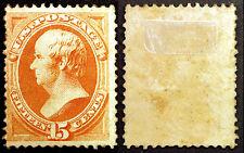 Classic Rare Stamp US #152 15c Yellow Orange 1870 Mint Hinged Full Gum Scarce