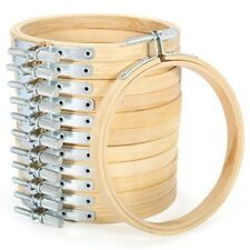 12PCS Embroidery Circle Set Hoops Cross Hoop Ring Wooden Round Bamboo Hoops NE8