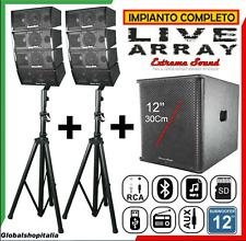 Sistema Audio 2200 Amplificato Casse Line Array Satelliti Sub Woofer Impianto DJ