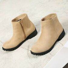 Women Non-slip Round Toe Chunky Heel Ankle Boots Comfort Casual Winter Zip Shoes
