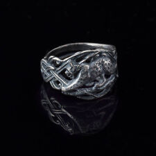 Bobcat Ring with Celtic Knot, silver-plated brass, handmade, adjustable size