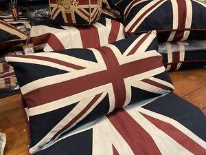 Vintage Union Jack Large Cushion By Woven Magic Vintage White 30x15inch