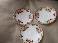 3 X VINTAGE GLADSTONE CHINA ART DECO HANDPAINTED SAUCERS DENSE BLACK OCHRE