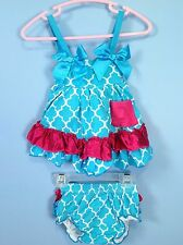 Baby 2pc summer dress & diaper cover ruffle bloomer set 6-12m blue pink