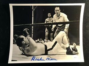 Archie Moore Signed Auto Fight Action Photo JSA World Champion Light Heavyweight