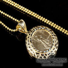 MEN'S WOMEN'S NEW 10K REAL YELLOW GOLD LADY LIBERTY CHARM PENDANT FREE NECKLACE