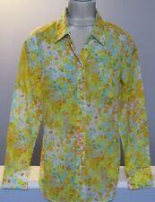 Boden Blouse Size US 6 Cotton Floral Yellow Seafoam Tan Orange Long Sleeve GRUC