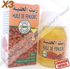 X 3 Huile de Fenugrec BIO 100% Pure 30ml Fenugreek Oil, Aceite de Fenogreco