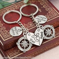 "1Set ""No Matter Where Best Friends"" Pattern Key Ring Set Compass Shape 8cm GW"