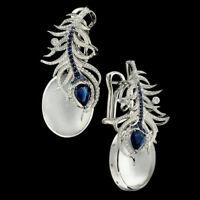 925 Silver Moonstone&Blue Sapphire Women Prom Jewelry Gift Ear Dangle Earrings U