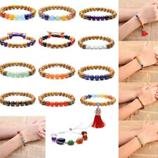Natural 8mm Sandalwood Beads Chakra Stones Braided Elastic Energy Bracelet Gift