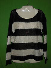 Forever 21 sweater pullover black ivory striped long sleeve sequins size L