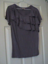 NWOT FOREVER 21 PURPLE SHORT SLEEVE T-SHIRT WITH RUFFLE FRONT