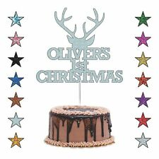Personalised First Christmas Cake Topper, Custom Christmas Party Cake Decoration