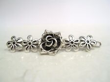 Silver celtic rose flower metal hair pin clip barrette for fine thin hair