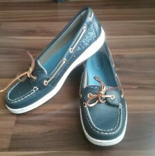 Sperry Top Sider Angel Fish Blue Sequin Women's Boat Shoes Size 9.5 M