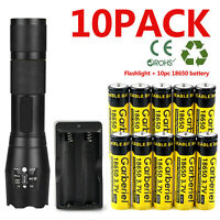 LED Flashlight +10X 18650 Battery Li-ion 3.7V Rechargeable Batteries +Charger US