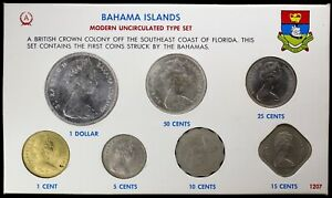 1966 Bahama Islands Modern Uncirculated Silver Type Set 7-Coins w/ 1c Stamp Anco