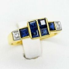 0.90 Carat t.w Natural Royal Blue Sapphire Ring With 2pcs Diamond 14K Solid Gold