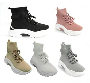 WOMENS LADIES FASHION CASUAL SPORT GYM LACE UP SOCK CHUNKY SOLE TRAINER UK