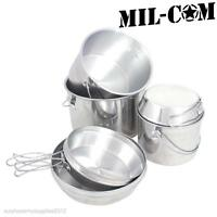 MIL-COM BILLY CAN PAN NESTING SET CAMPING POTS ARMY COOKING KIT WILD CAMPING