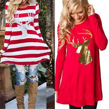 Womens Ladies Long Sleeve Christmas Skater Swing Dress Casual Loose Tops Blouse