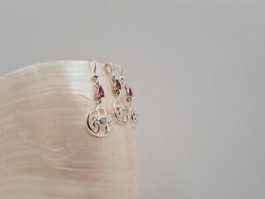 Garnet Opal Set, Rhodolite Garnet, White Opal, Celtic Design, Sterling Silver,