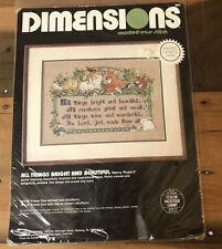 "VTG Cross Stitch Kit ""All Things Bright and Beautiful"" Nancy Rossi Linen Counted"