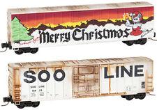 Micro-Trains MTL Z-Scale 50ft Box Cars Soo Line Weathered/Graffiti/Christmas 2Pk