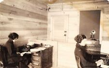 Secretaries~Bare Bulb Office~Typewriters~Candlestick Telephone~Switch~1918 RPPC