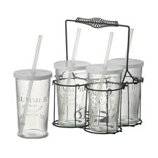 4 Glasses With Lids & Straws In Wire Metal Basket Carrier by Parlane
