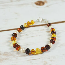 Genuine Natural Baltic Amber Bracelet Pearls Cognac Brown Yellow Silver Beach