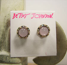 Betsey Johnson Weave and Sew Pink Stone AB Crystal Gold Tone Stud Earrings