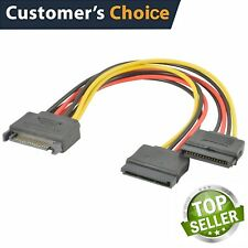 SATA Power 15-pin Y-Splitter Cable Adapter Male to Female for HDD Hard Drive USA