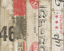 """95950-1) 1 rôle papier papier peint """"Boys & Girls"""" bois décor au style vintage rouge"""