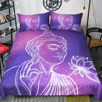 Single/Double/Queen/King Size Bed Quilt/Doona/Duvet Cover Set Purple Buddha