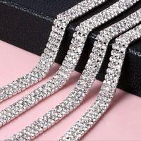 1-row/2-row/3-row1 Yard DIY Silver Crystal Rhinestone Close Chain Trim Fashion