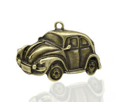 2 LARGE ANTIQUE BRONZE VW BEETLE CAR PENDANTS 38mm Fathers Day~Key Ring ()UK