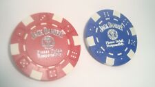 2 two JACK DANIEL'S Poker Chips Silver Foil imprint Golf Ball Marker-Card Guard