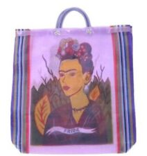 Frida Kahlo Mexican Mesh Market Tote Purple Reusable Grocer Recycled Bag Kitchen
