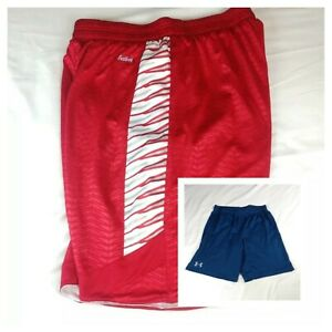 2 Pc. Eastbay Evapor Reversible Basketball Red & Preowned UNDER ARMOUR Shorts  L
