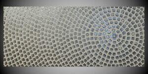 Acrylbild auf Leinwand für Wohnzimmer Abstraktes Bild in Weiß und Silber Malerei