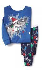 BABY GAP BOY Glow In The Dark Shark Christmas Lights SLEEP SET PAJAMAS NWT 6-12